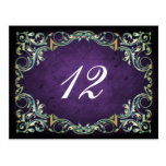 rustic purple teal regal wedding table seating postcard