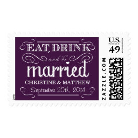 Rustic Purple Vintage Wedding Postage