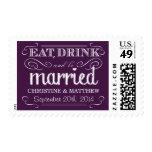 Rustic Purple Vintage Wedding Postage