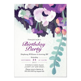 Rustic Purple White Floral Birthday Party Invite