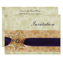 rustic purple winter wedding Invitation cards