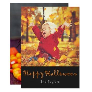 Halloween Themed Rustic Purple Wood Candy Corn Halloween Photo Card