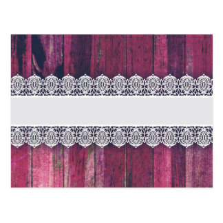 Rustic Purple Wood with Lace – Shabby Chic Style Post Cards
