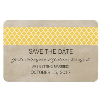 Rustic Quatrefoil Save the Date Magnet, Yellow
