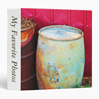 Rustic Rain Barrel Photo Album 3 Ring Binder