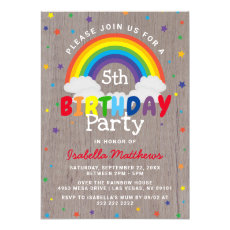 Rustic Rainbow Birthday | Colorful Invitation