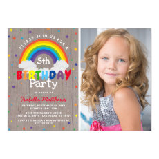 Rustic Rainbow Birthday | Colorful Photo Invitation