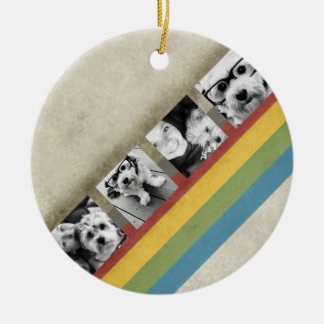 Rustic Rainbow Hipster 4 Photo Custom Collage Double-Sided Ceramic Round Christmas Ornament