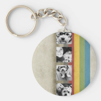Rustic Rainbow Hipster 4 Photo Custom Collage Basic Round Button Keychain