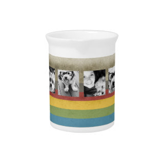 Rustic Rainbow Hipster 4 Photo Custom Collage Pitcher