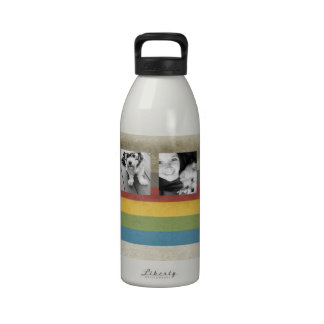 Rustic Rainbow Hipster 4 Photo Custom Collage Drinking Bottle