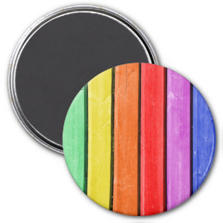 Rustic Rainbow Wood Stripes 3 Inch Round Magnet