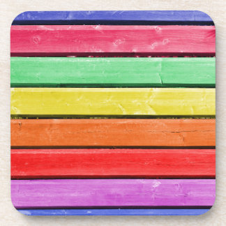 Rustic Rainbow Wood Stripes Drink Coaster