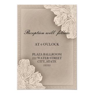 Rustic Raised Floral Wedding Reception Card