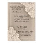 Rustic Raised Floral Wedding Rehearsal Invitation