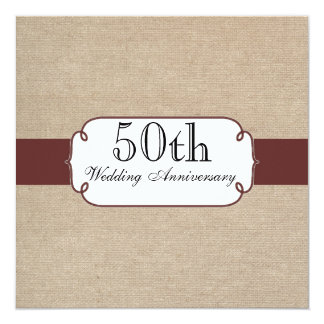 Rustic Raisin and Beige Burlap Anniversary Party Card