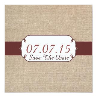 Rustic Raisin and Beige Burlap Save The Date Card