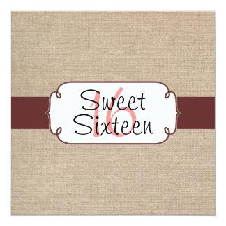 Rustic Raisin and Beige Burlap Sweet Sixteen Card