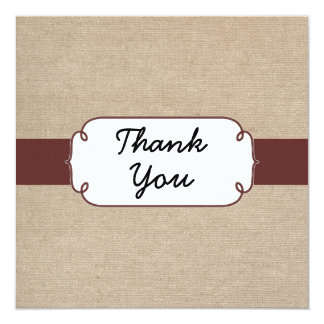 Rustic Raisin and Beige Burlap Thank You Card