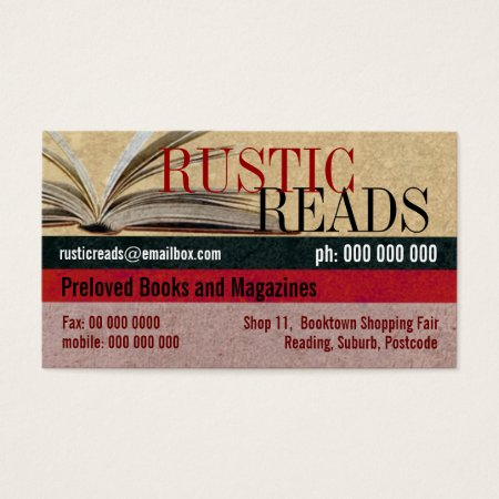 Rustic Old Parchment Paper Book Store Business Cards