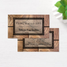 Rustic Reclaimed Wood Furniture Business Business Card at Zazzle