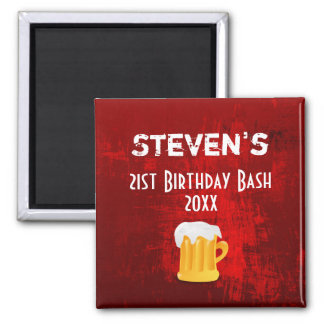 Rustic red Abstract Birthday Bash with Beer Mug 2 Inch Square Magnet