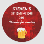 Rustic Red Abstract Birthday Bash with Beer Mug Classic Round Sticker