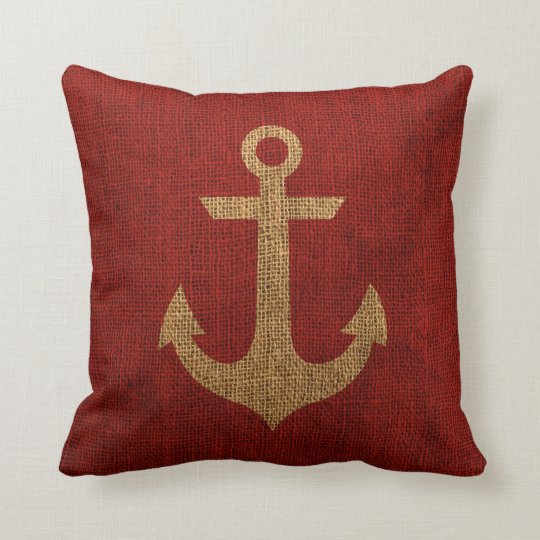 Rustic Red Anchor On Burlap Look Throw Pillow Zazzle Com