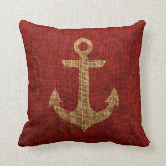 Rustic Red Anchor on Burlap Look Throw Pillow