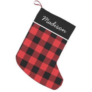 Rustic Red and Black Buffalo Check Monogram Small Christmas Stocking