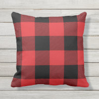 Rustic Red and Black Buffalo Check Plaid Outdoor Pillow