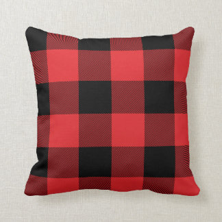 Rustic Red and Black Buffalo Check Plaid Throw Pillow