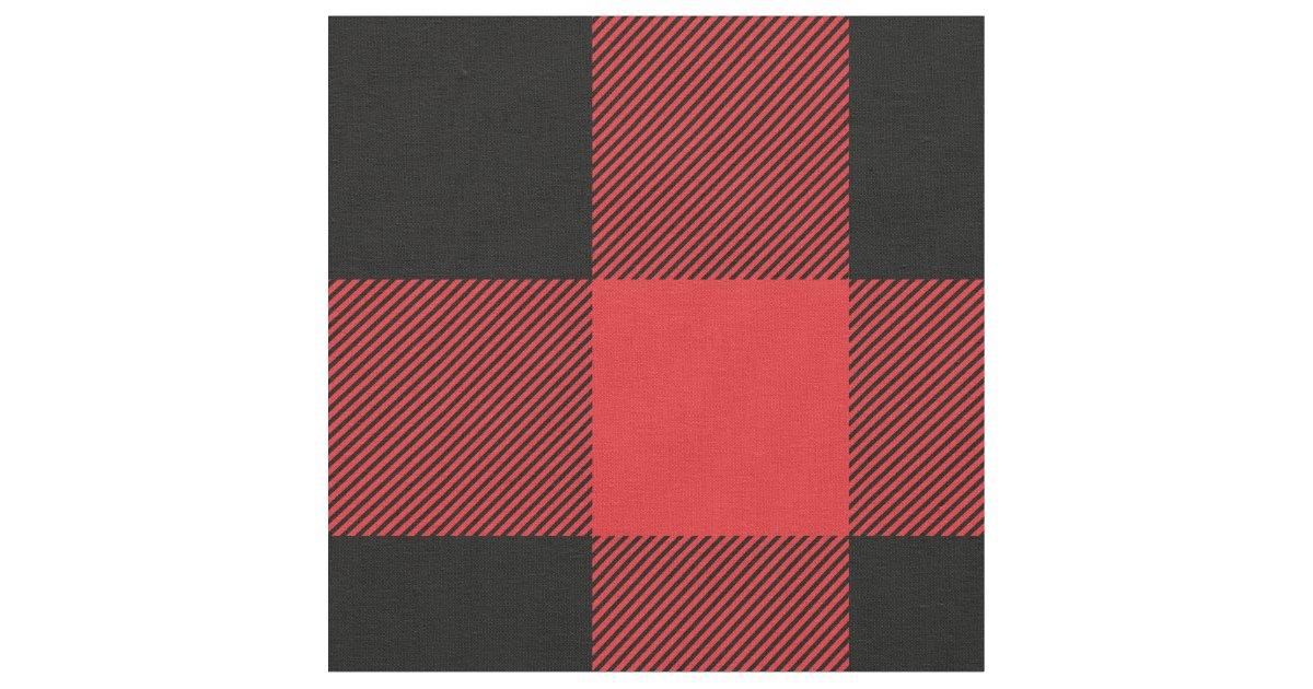 Rustic Red And Black Buffalo Plaid Fabric Zazzle Com