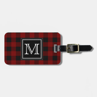 Rustic Red and Black Buffalo Plaid Monogram Bag Tag