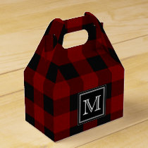 Rustic Red and Black Buffalo Plaid Monogram Favor Box
