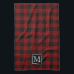 "Rustic Red and Black Buffalo Plaid Monogram Kitchen Towel<br><div class=""desc"">Rustic black and red buffalo check plaid pattern with emblem for you to personalize with your initial.  Created by Holiday Hearts Designs for TJsSportsmania.</div>"