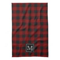 Rustic Red and Black Buffalo Plaid Monogram Kitchen Towel