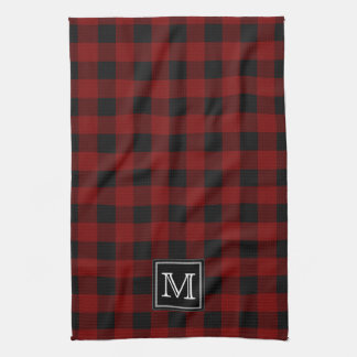 Rustic Red and Black Buffalo Plaid Monogram Kitchen Towel