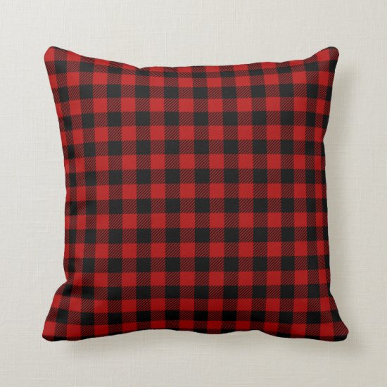 Rustic Red and Black Buffalo Print Pattern Throw Pillow