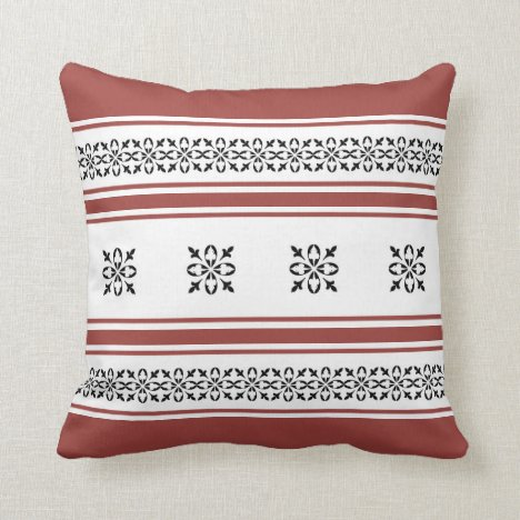 Rustic Red and Black Damask Style Throw Pillow