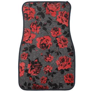 Rustic Red and Black Stem Rose Pattern Car Mat