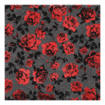 Rustic Red and Black Stem Rose Pattern Poster