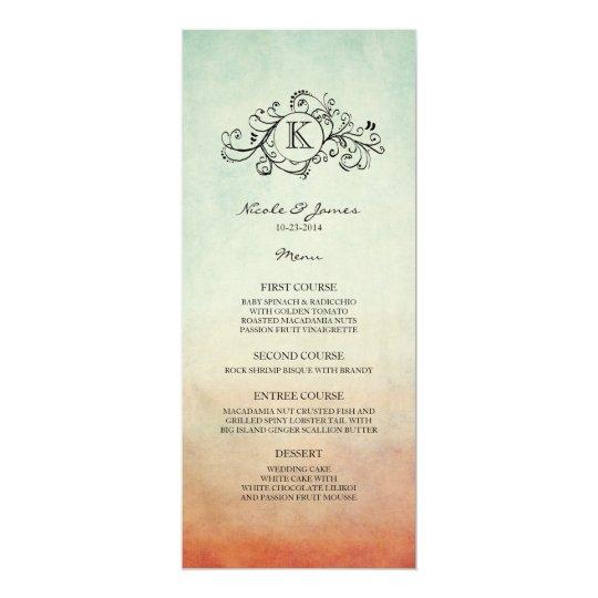 Rustic Red and Blue Bohemian Wedding Menu Card