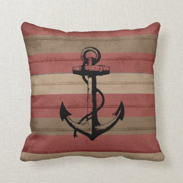 Beach Themed Rustic Red and Browns Nautical Stripes and Anchor Throw Pillow