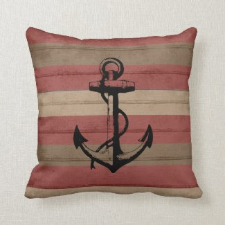 Rustic Red and Browns Nautical Stripes and Anchor Throw Pillow