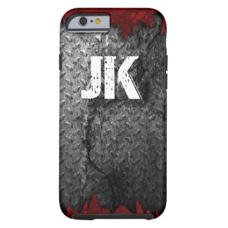RUSTIC RED AND GREY METAL MONOGRAM TOUGH iPhone 6 CASE