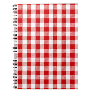Rustic Red And White Checks Gingham Paid Notebook
