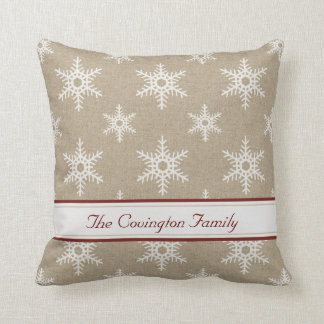 Rustic Red and White Faux Burlap Snowflake Pattern Pillows