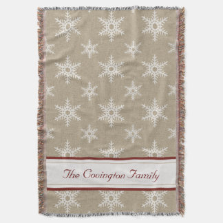Rustic Red and White Faux Burlap Snowflake Pattern Throw Blanket