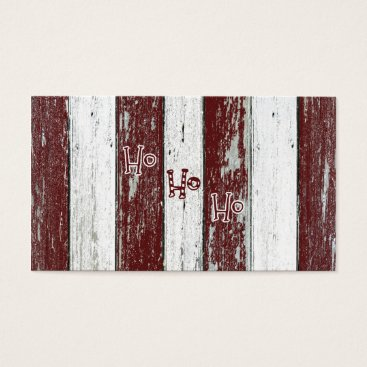 Beach Themed Rustic Red and White Striped Ho Ho Ho Business Card
